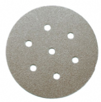 "150mm (6"") diameter. 7 holes.  Ceramic abrasive hook and loopback sanding discs."
